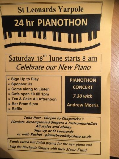 A flyer for the Yarpole Pianothon on 18th and 19th June